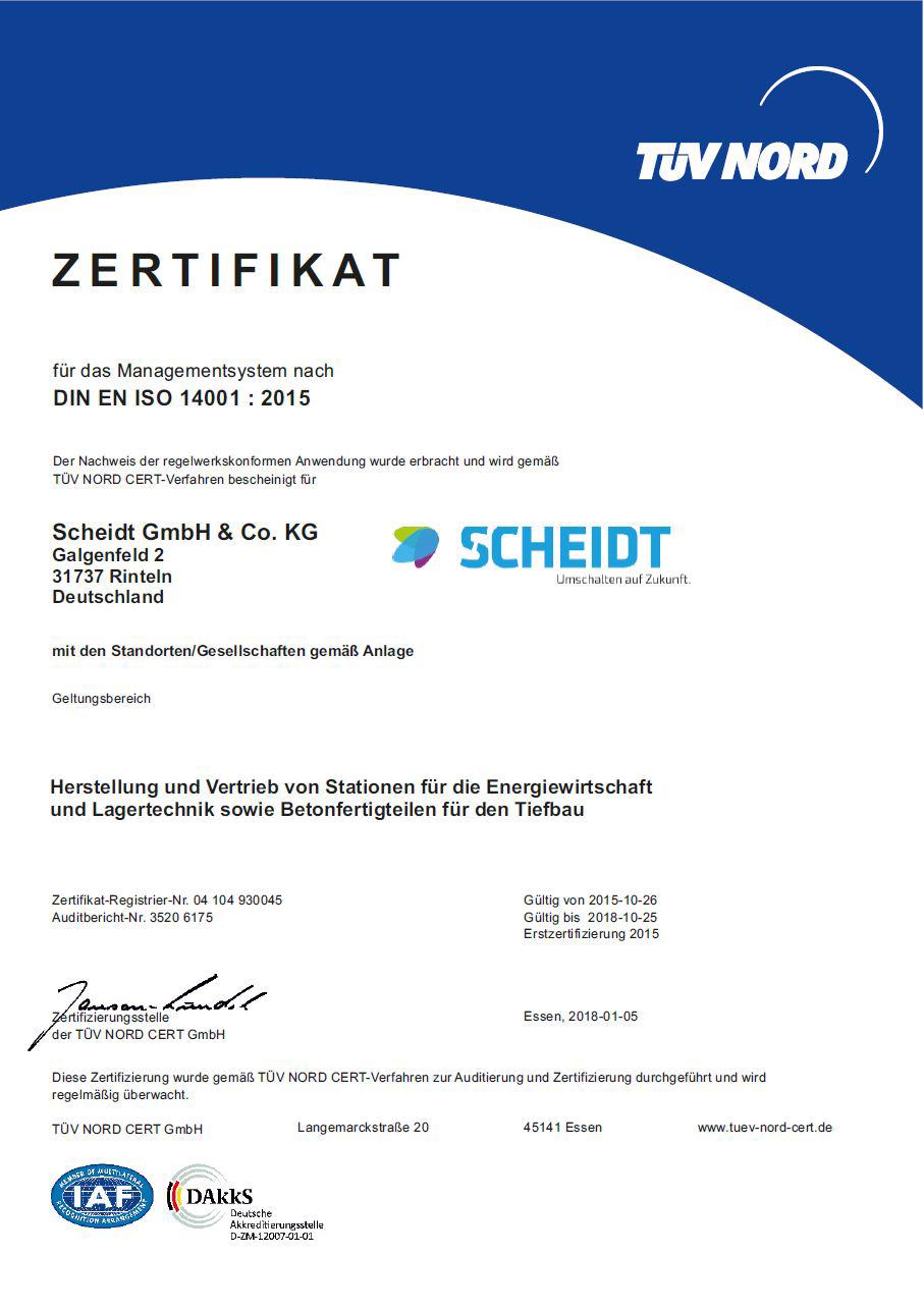 DIN EN ISO 14001 Zertifikat