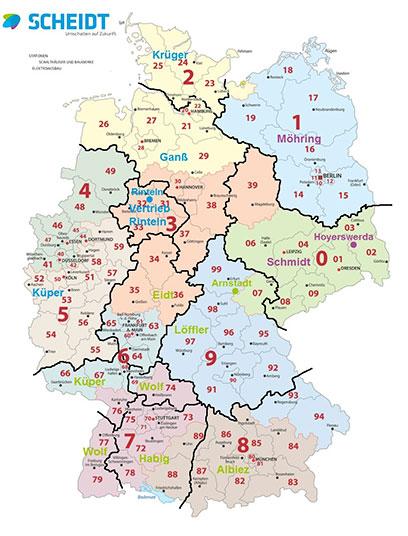 Deutschlandkarte Postleitzahlen