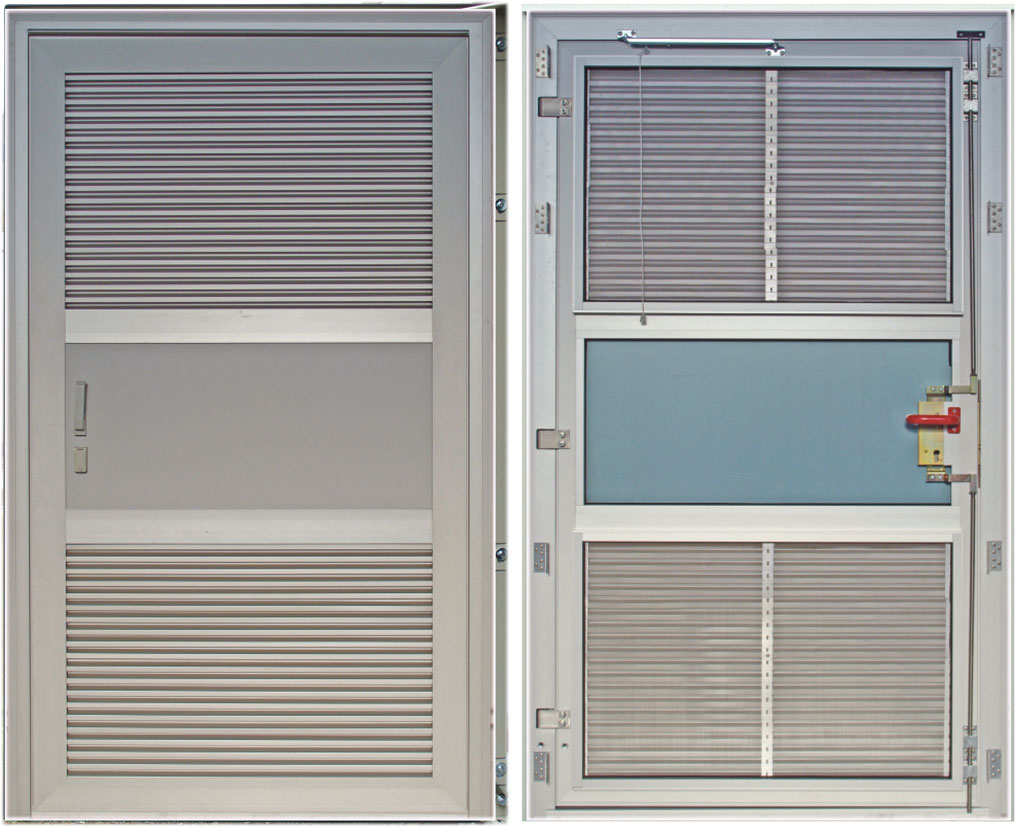 Aluminum door, ventilation grille above/below